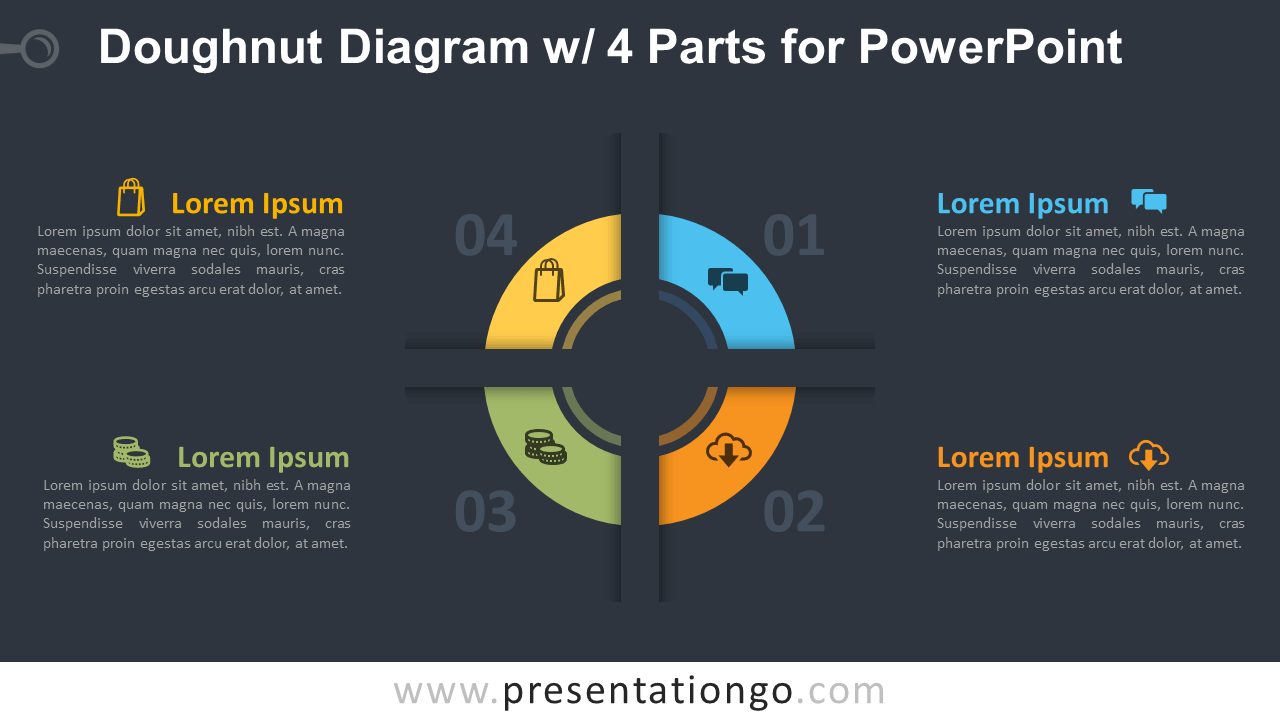 Free Doughnut PowerPoint Diagram with 4 Parts Template