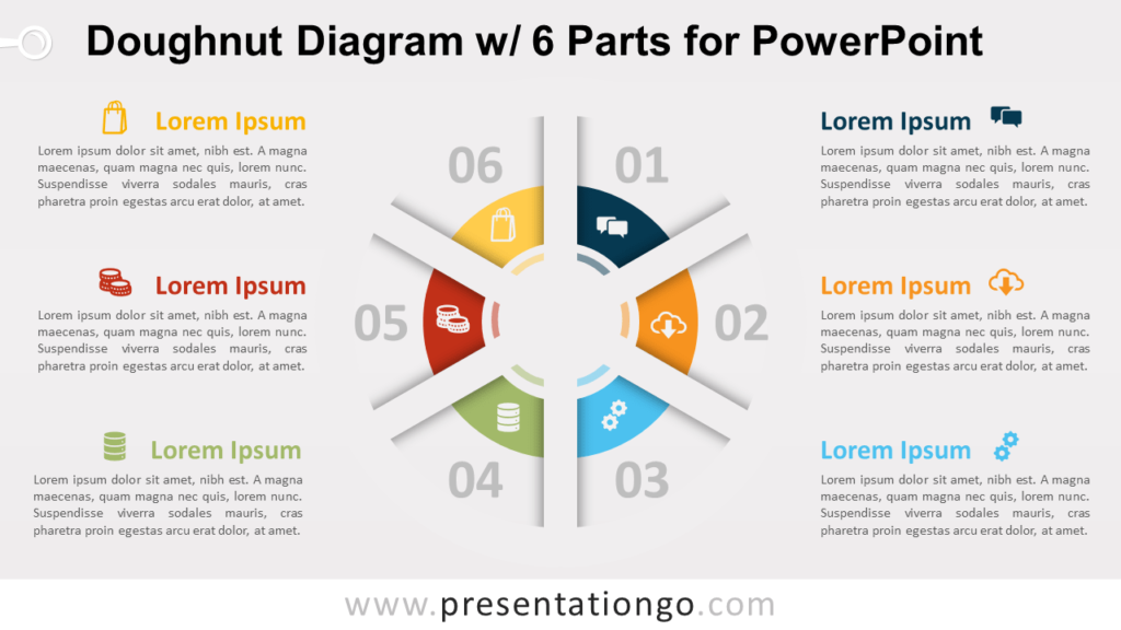 Free Doughnut PowerPoint Diagram with 6 Parts