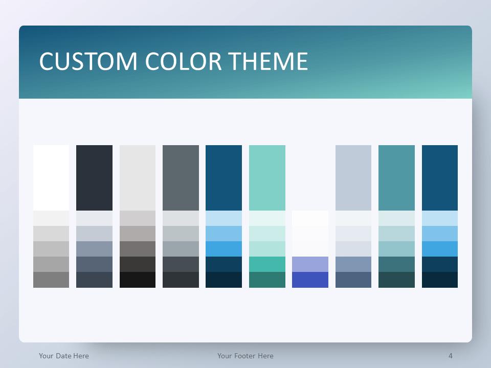 Free Gradient Aqua Splash PowerPoint Template - Custom Color Theme