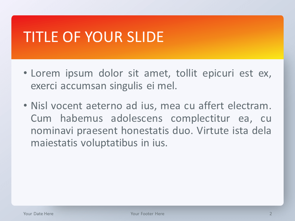 Free Gradient Orange PowerPoint Template - Title and Content