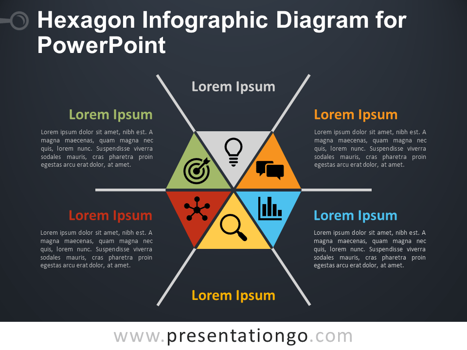 Free Hexagon Infographic Diagram for PowerPoint - Dark Bacground