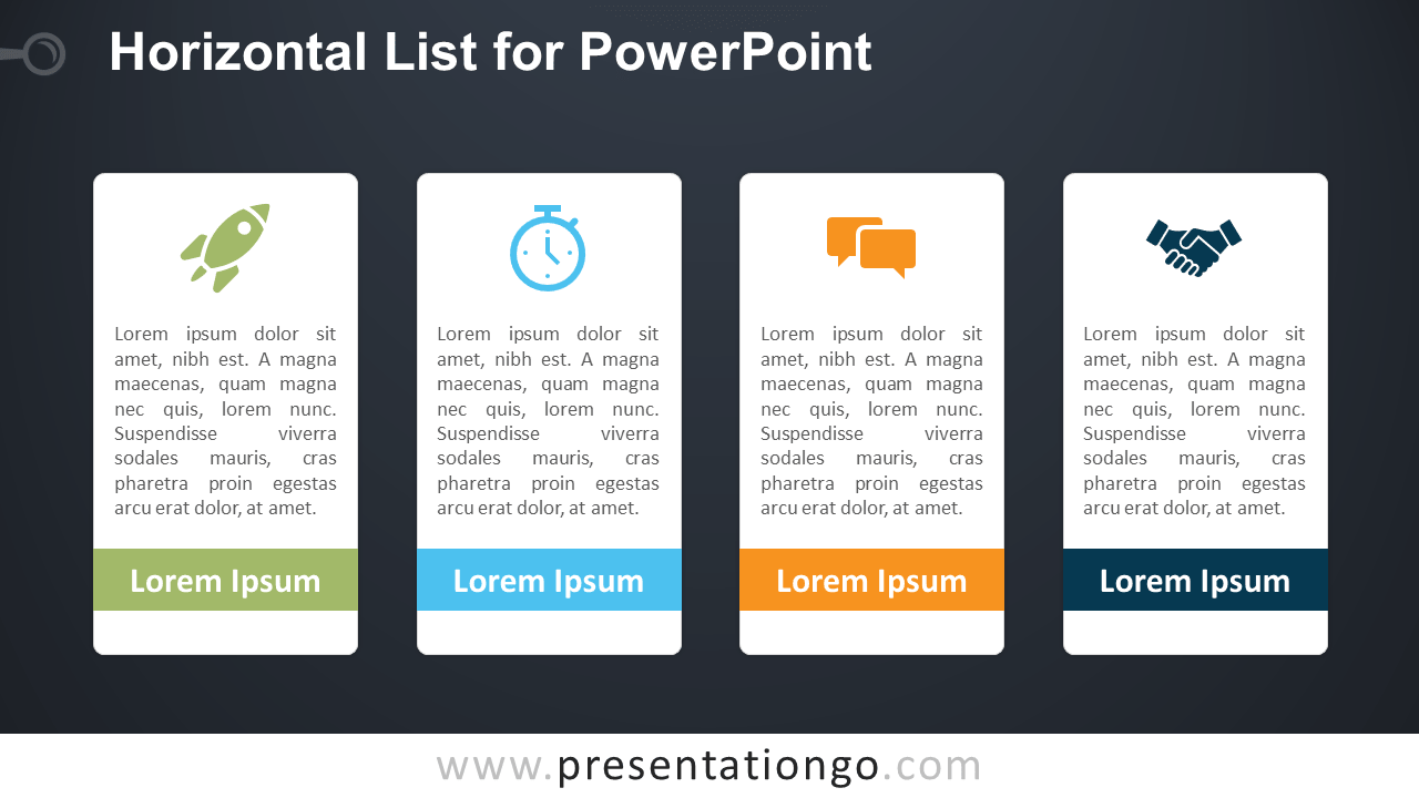 Free Horizontal List PowerPoint Template - Dark Background