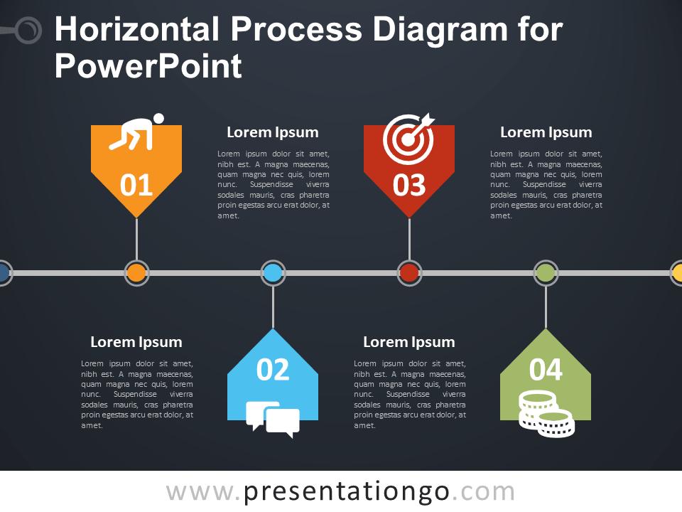 Free Horizontal Process Diagram - PowerPoint Template