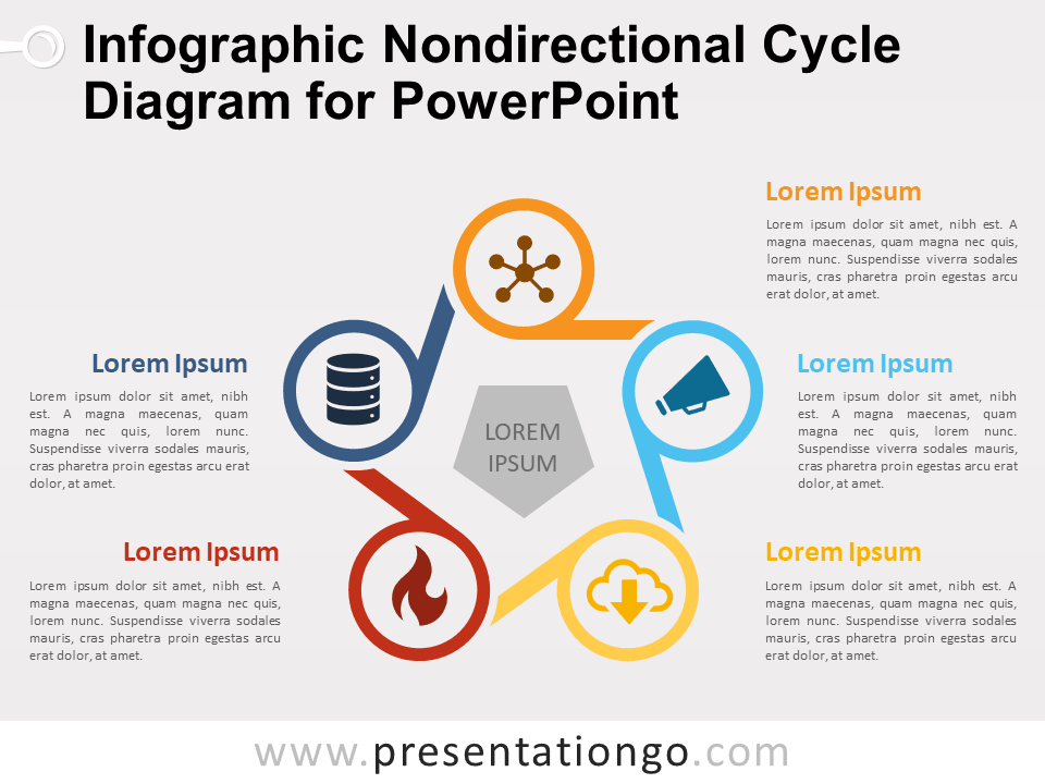 Free Infographic Nondirectional Cycle Diagram for PowerPoint