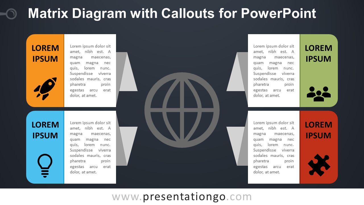 Matrix Diagram with Callouts for PowerPoint - PresentationGO.com