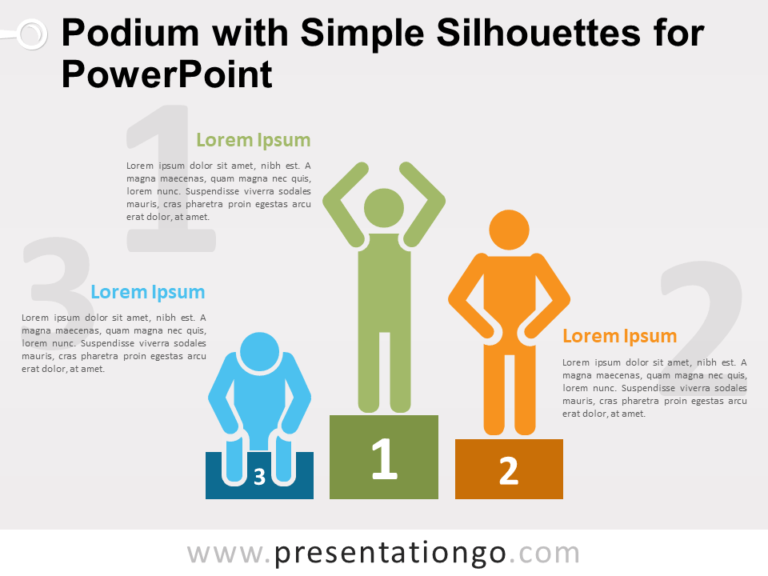 Free Podium with Simple Silhouettes for PowerPoint