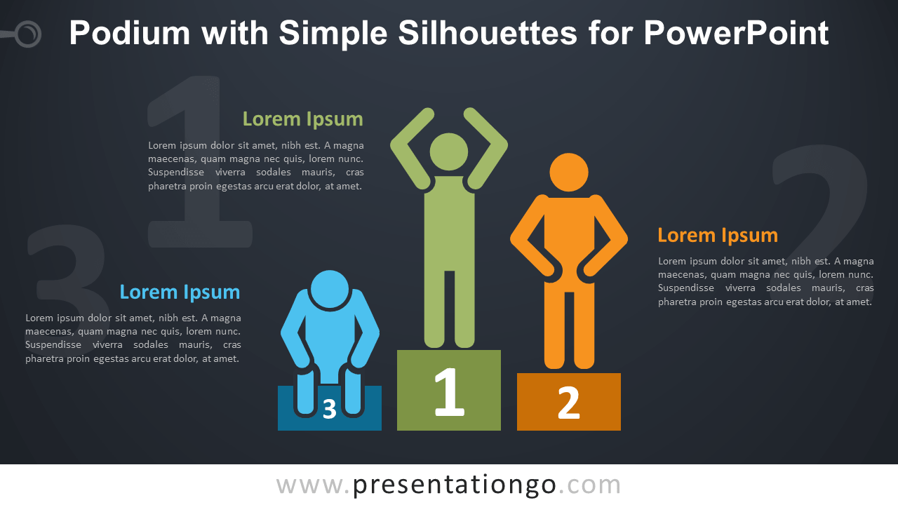 Free Podium and Silhouettes PowerPoint Template - Dark Background