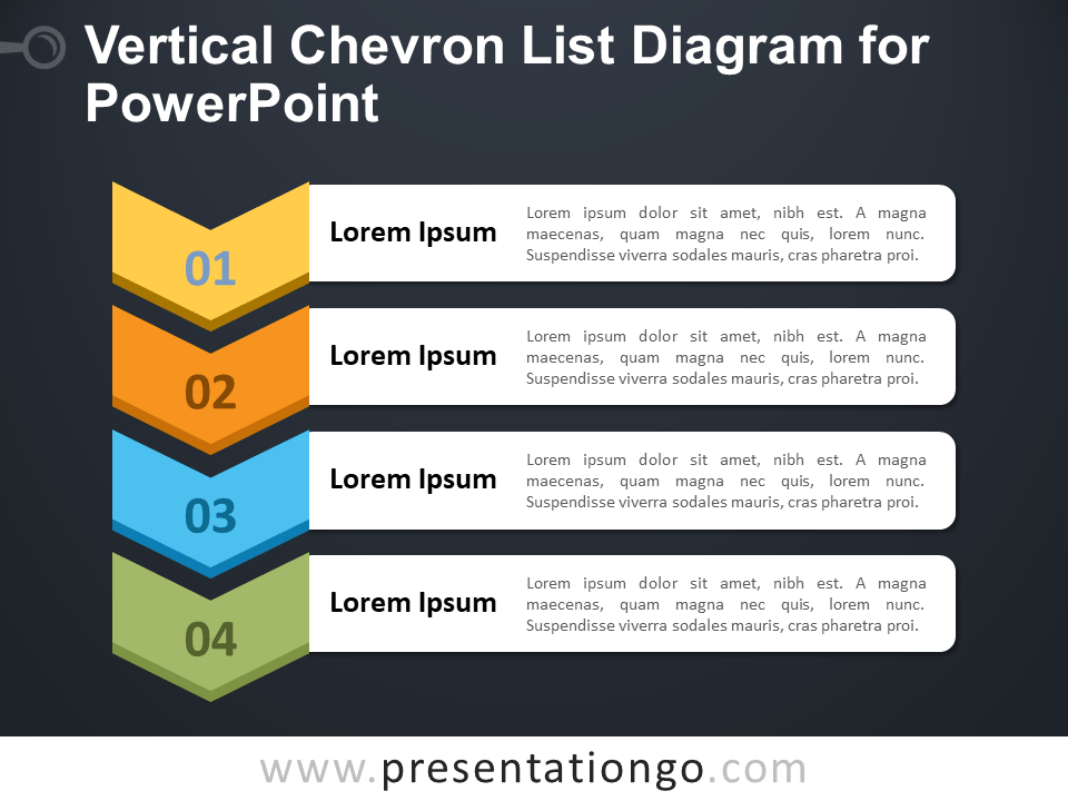 Free Vertical Chevron List Diagram for PowerPoint - Dark Background