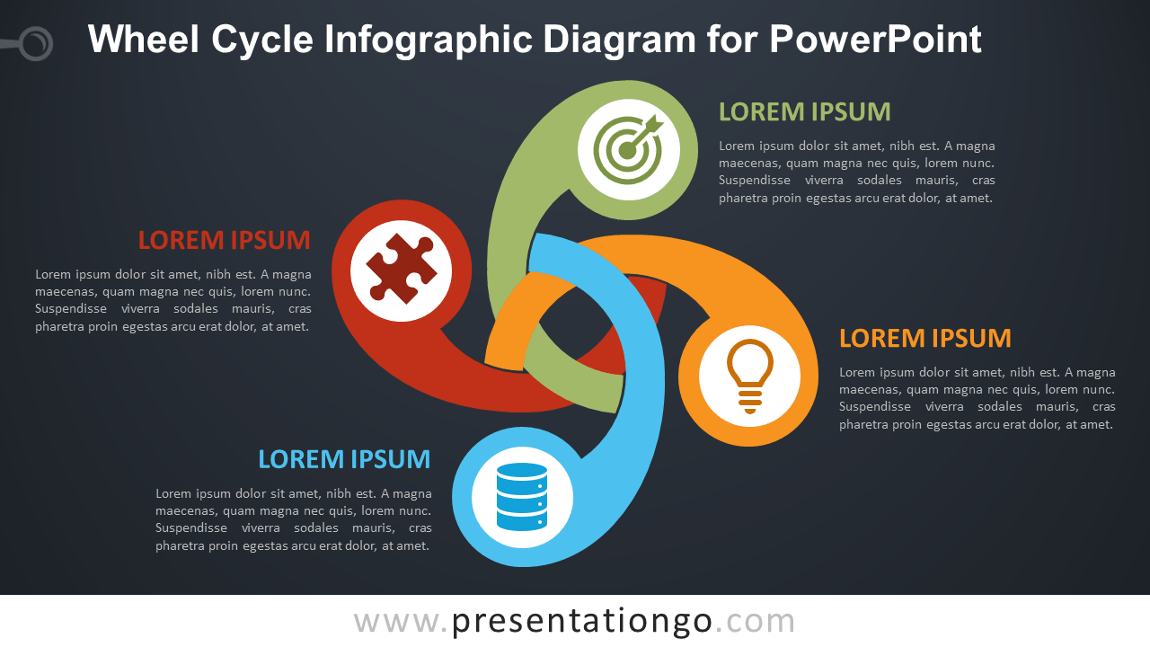 Free Wheel Cycle PowerPoint Diagram - Dark Background