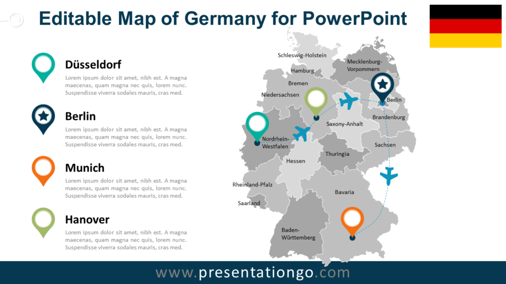 Free Germany Map for PowerPoint