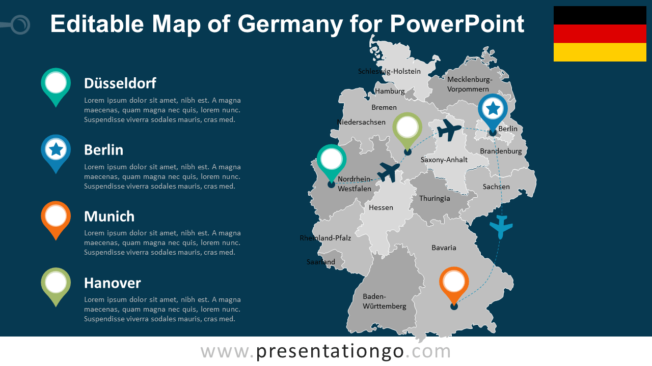 Germany Editable PowerPoint Map - PresentationGO.com