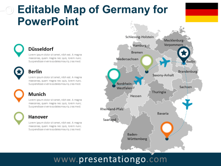 Free Map of Germany for PowerPoint