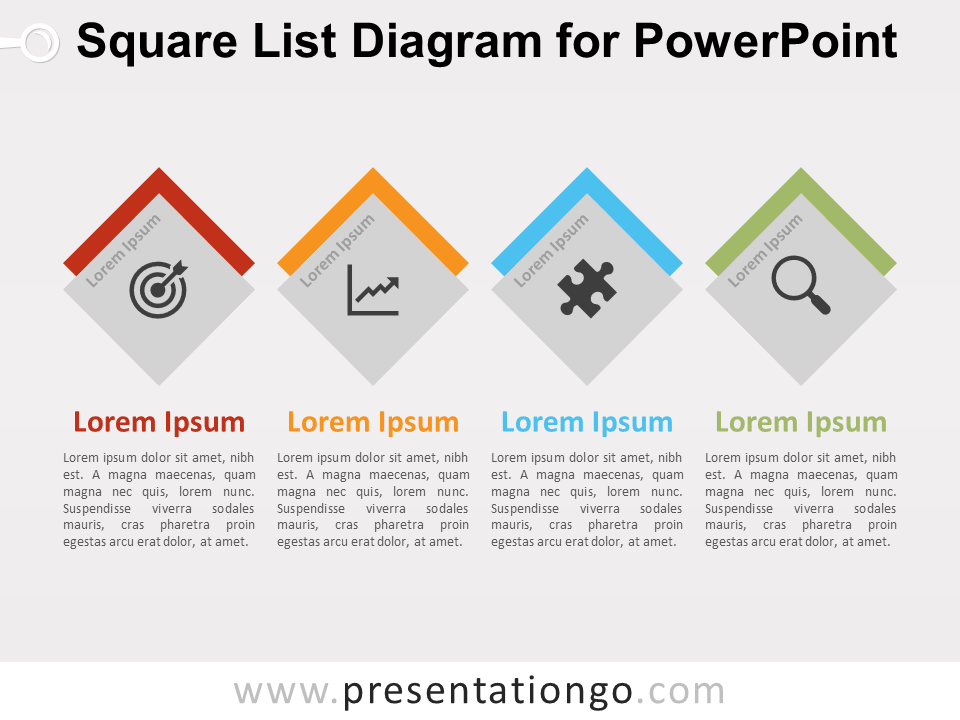 Free Square List Diagram for PowerPoint - Design 2