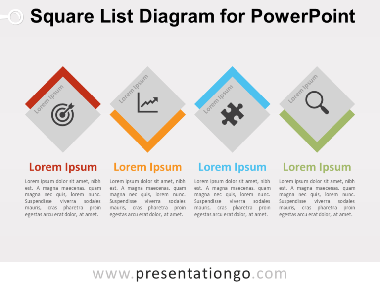 Free Square List Diagram for PowerPoint