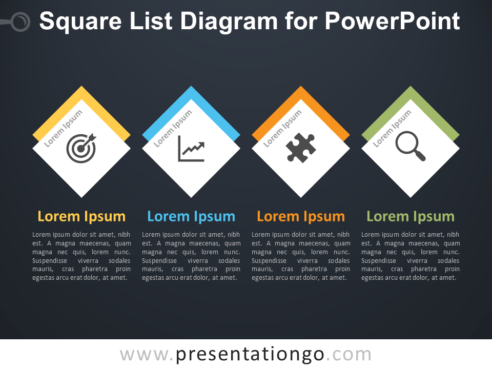 Free Square List Diagram PowerPoint Template