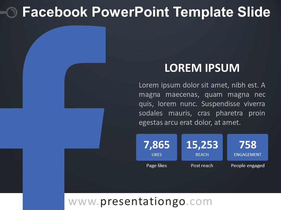 Free Facebook PowerPoint Template Slide - Dark Background
