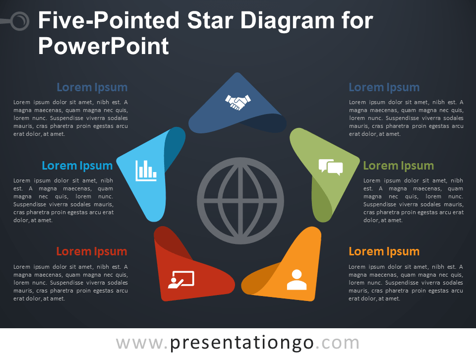 Free Five-Pointed Star Diagram for PowerPoint - Dark Background