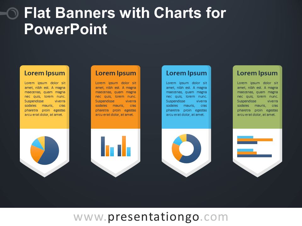 Free Flat Banners with Charts for PowerPoint - Dark Background