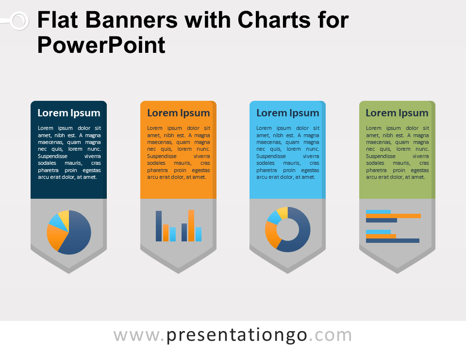 Free Flat Banners with Charts for PowerPoint