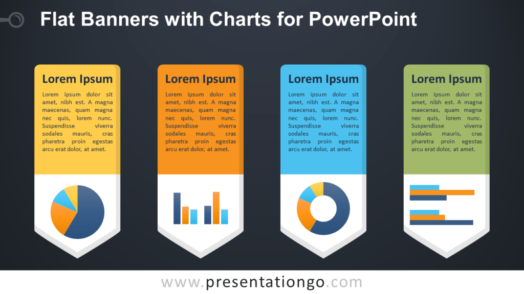 Free Flat Vertical Banners with Charts for PowerPoint - Dark Background