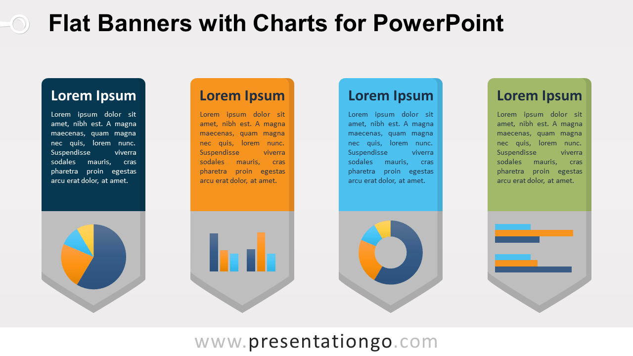 Free Flat Vertical Banners with Charts for PowerPoint