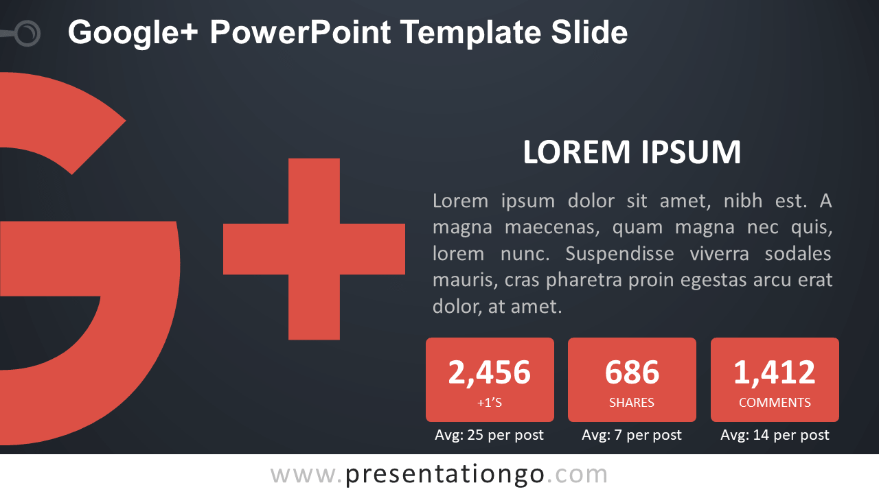 Free Google Plus PowerPoint Slide - Dark Background