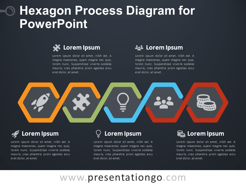 Free Hexagon Process Diagram for PowerPoint - 5 Steps - Dark Background