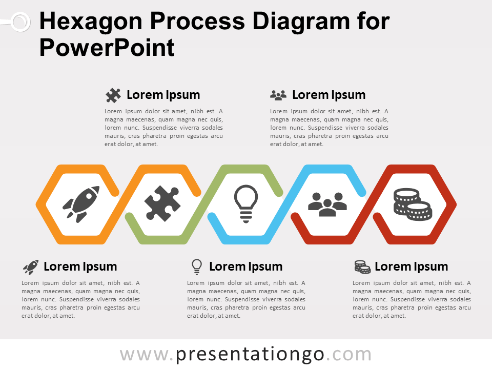 Free Hexagon Process Diagram for PowerPoint - 5 Steps