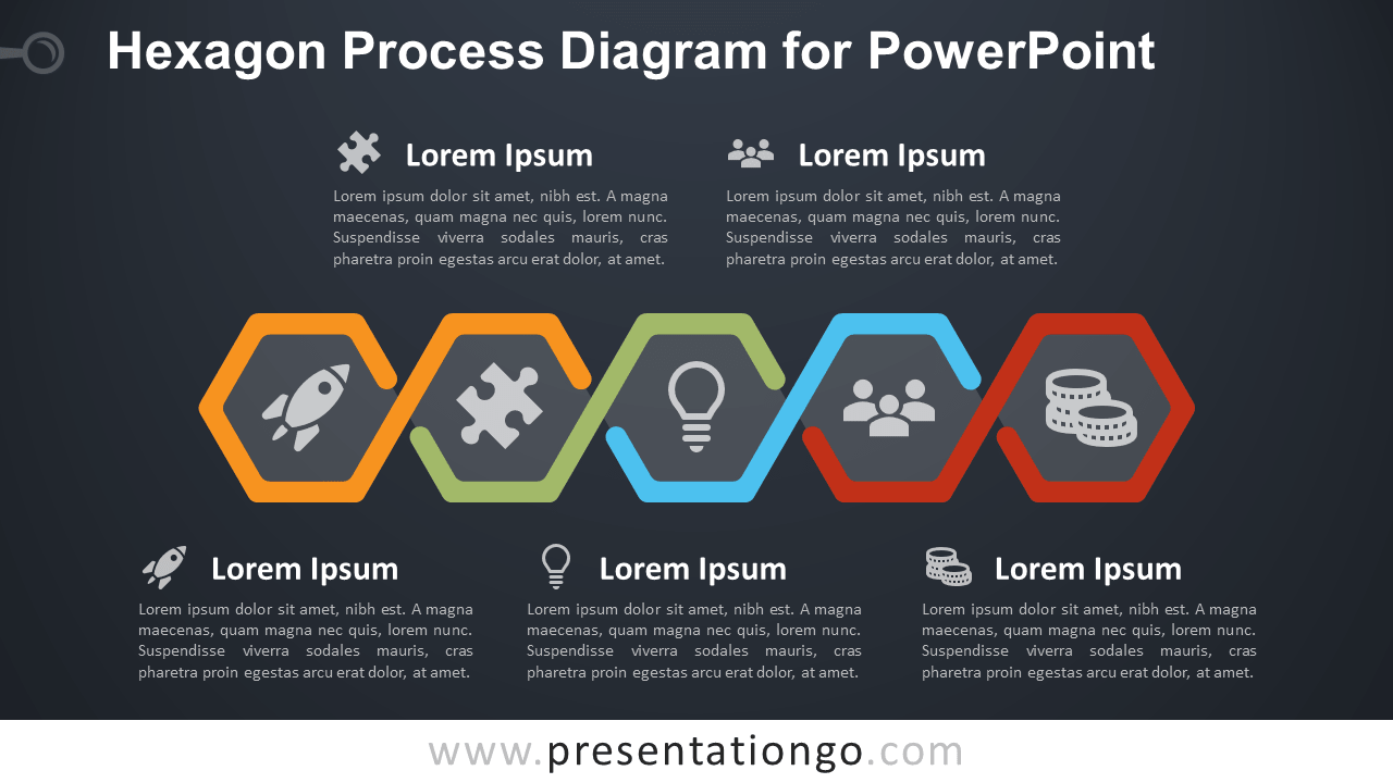 Free Hexagon Process for PowerPoint with 5 Steps - Dark Background