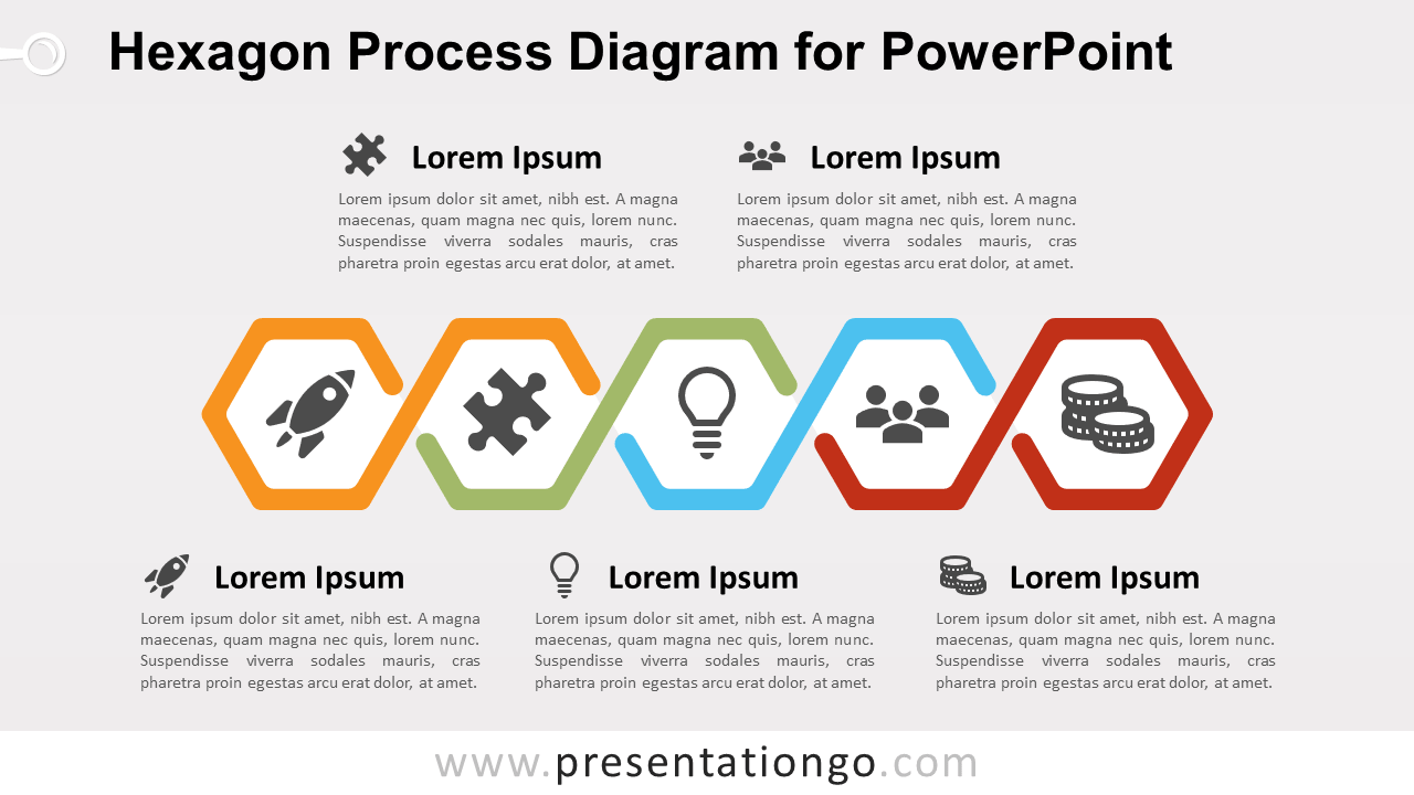 Free Hexagon Process for PowerPoint with 5 Steps