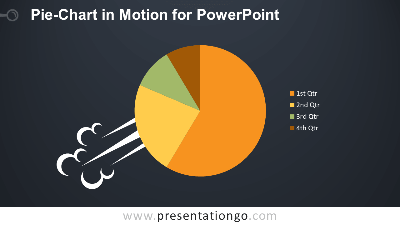 Pie Chart in Motion for PowerPoint - Dark Background