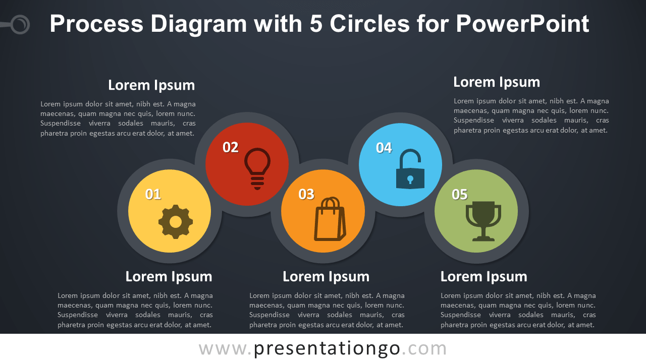 process diagram with 5 circles for powerpoint ...