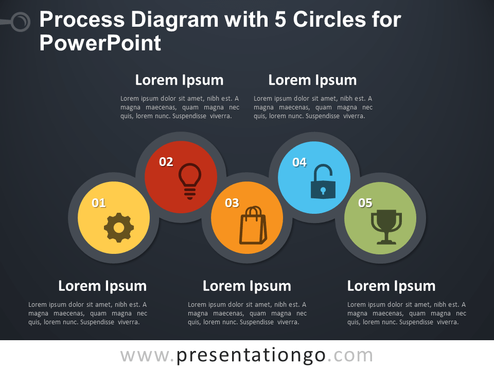 dark circles diagram process diagram with 5 circles for powerpoint ...