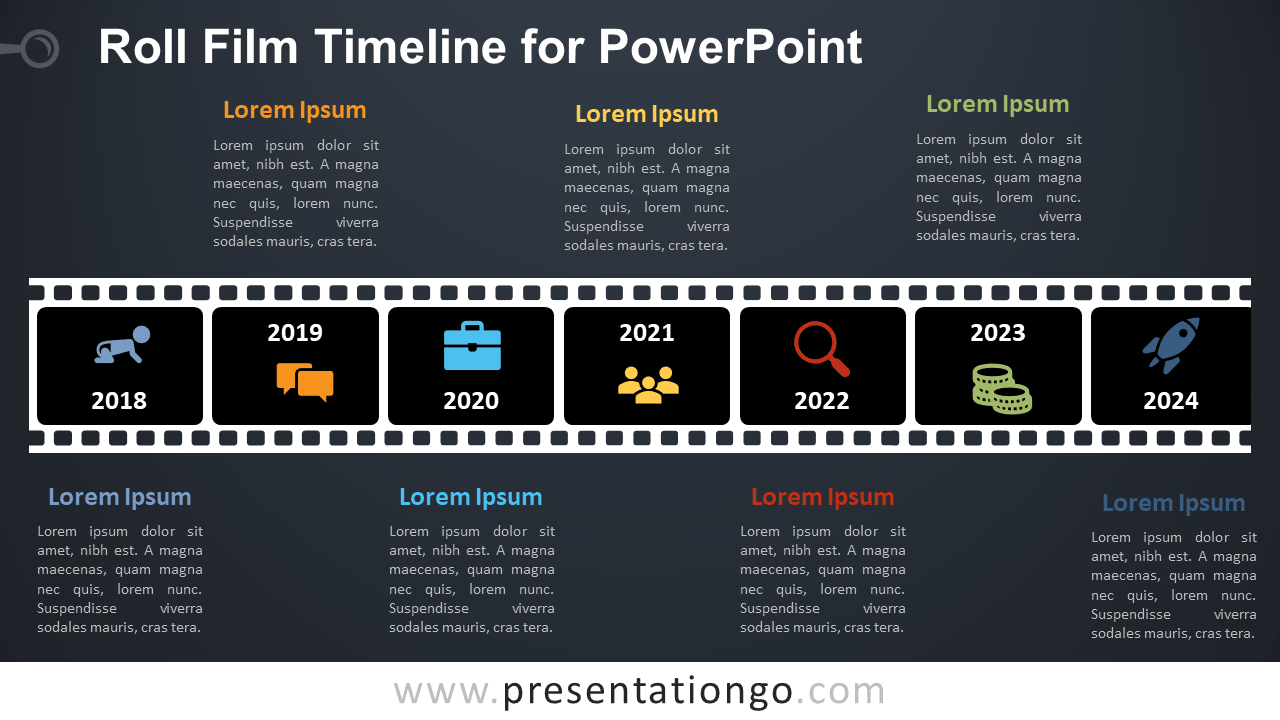 Free Roll Film Timeline Diagram for PowerPoint - Dark Background