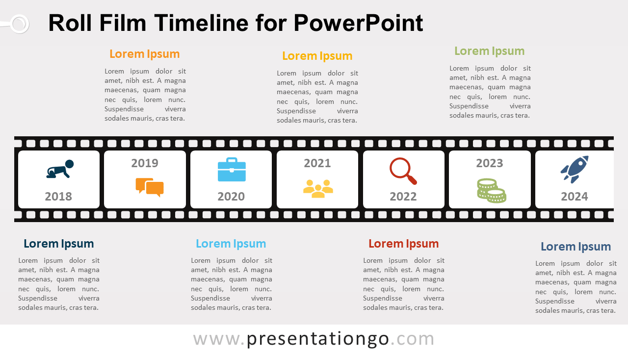 Free Roll Film Timeline Diagram for PowerPoint