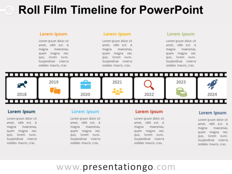 Free Roll Film Timeline for PowerPoint