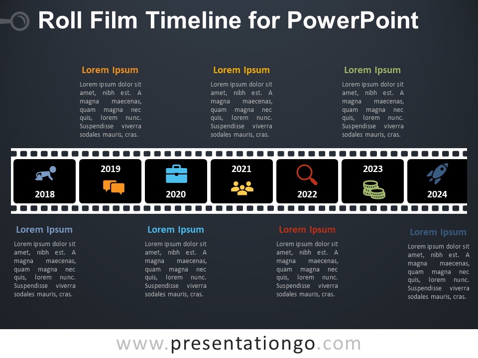 Free Roll Film Timeline for PowerPoint - Dark Background
