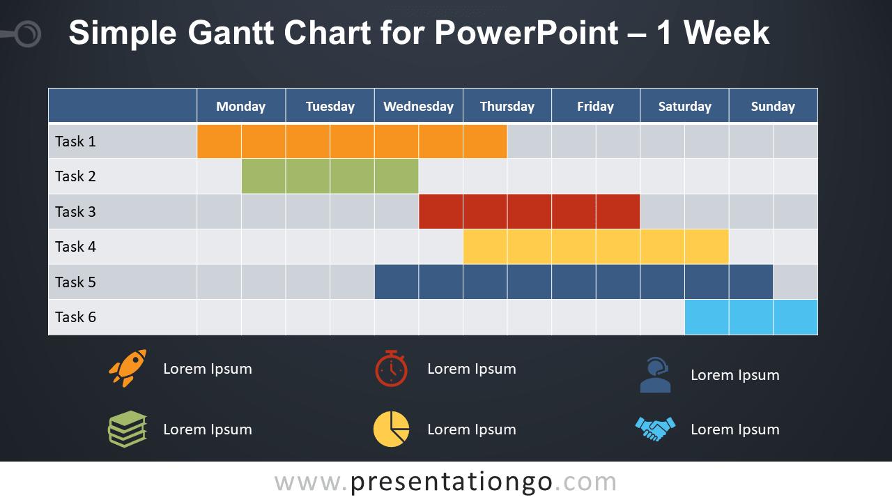 Free Simple Gantt Chart with 1 Week for PowerPoint - Dark Background