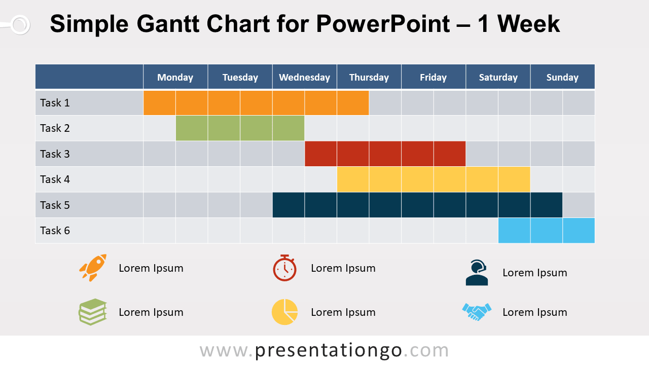 Free Simple Gantt Chart with 1 Week for PowerPoint