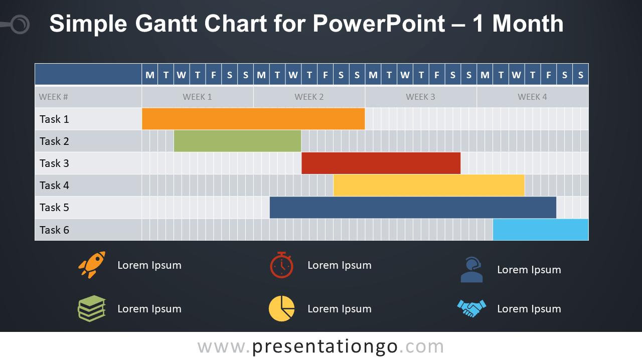 Simple Gantt Chart for PowerPoint - 1 Month - Dark Background