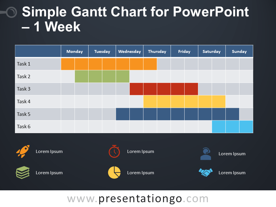 Free Simple Gantt Chart for PowerPoint - 1 Week - Dark Background