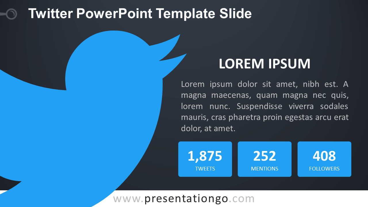 Free Twitter PowerPoint Slide - Dark Background