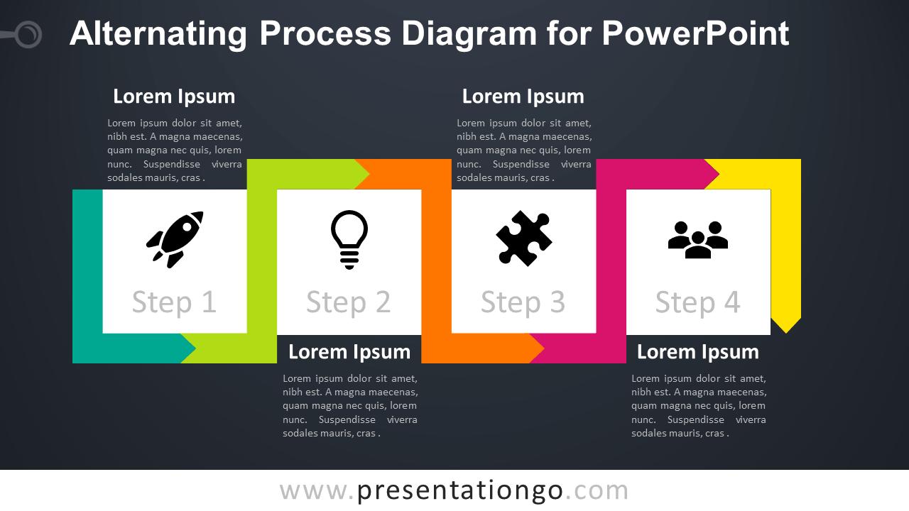 Free Alternating Process PowerPoint - Dark Background