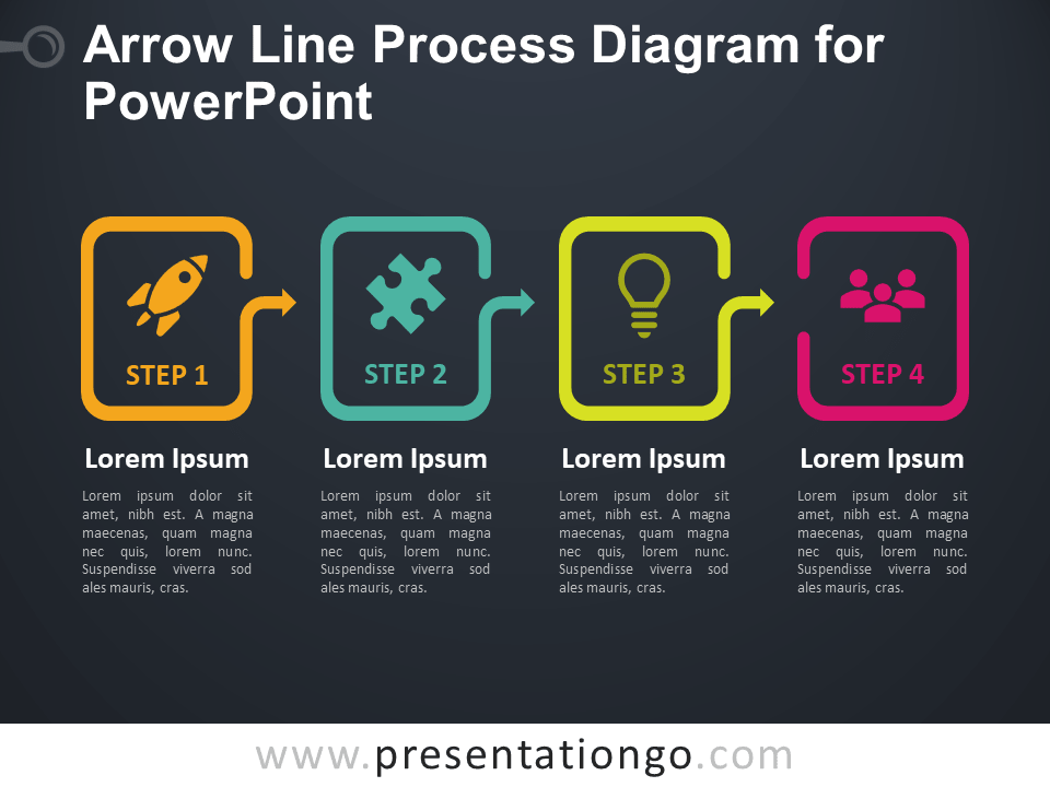 Free Arrow Line Process Diagram for PowerPoint - Dark Background