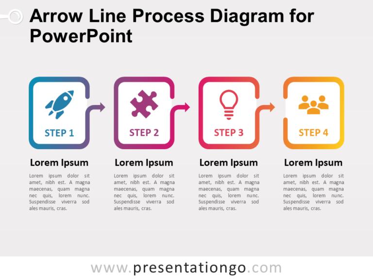 Free Arrow Line Process Diagram for PowerPoint (Gradient)