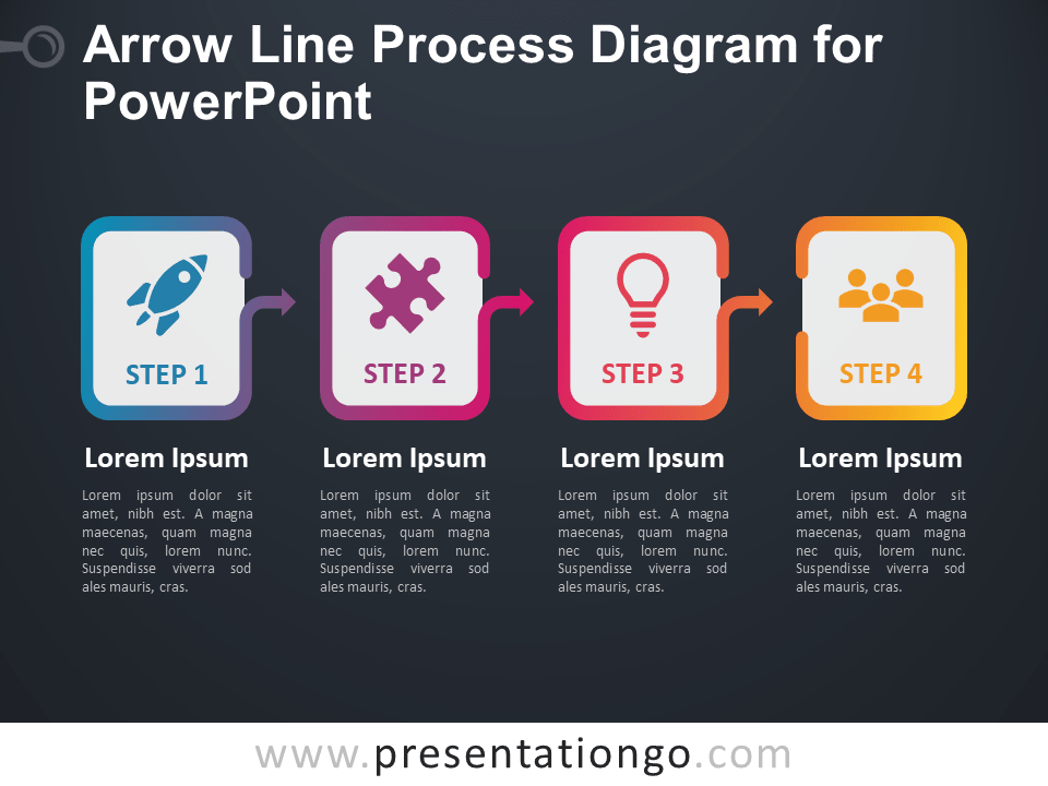 Free Arrow Line Process Diagram for PowerPoint (Gradient) - Dark Background