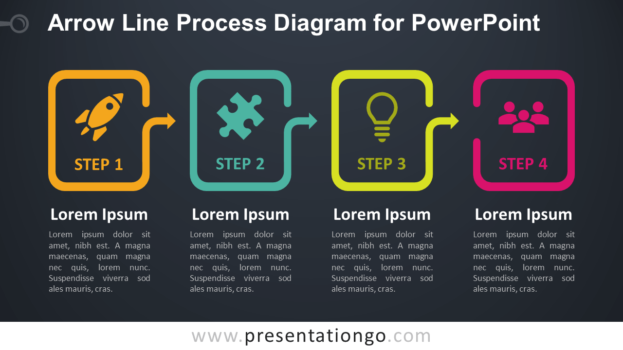 Free Arrow Line Process for PowerPoint - Dark Background