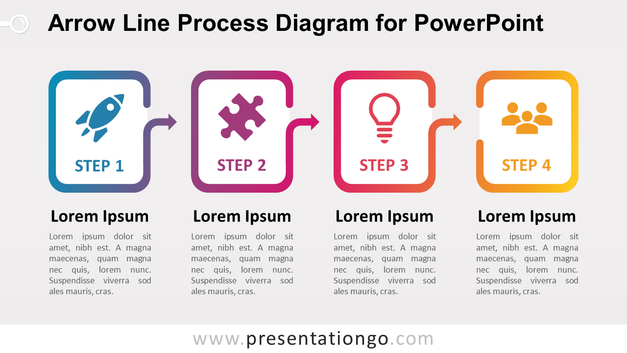 Free Arrow Line Process for PowerPoint (Gradient)