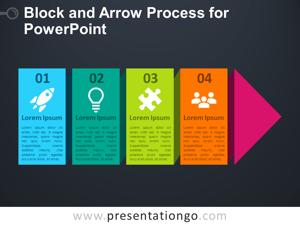 Free Block and Arrow Process for PowerPoint - Dark Background