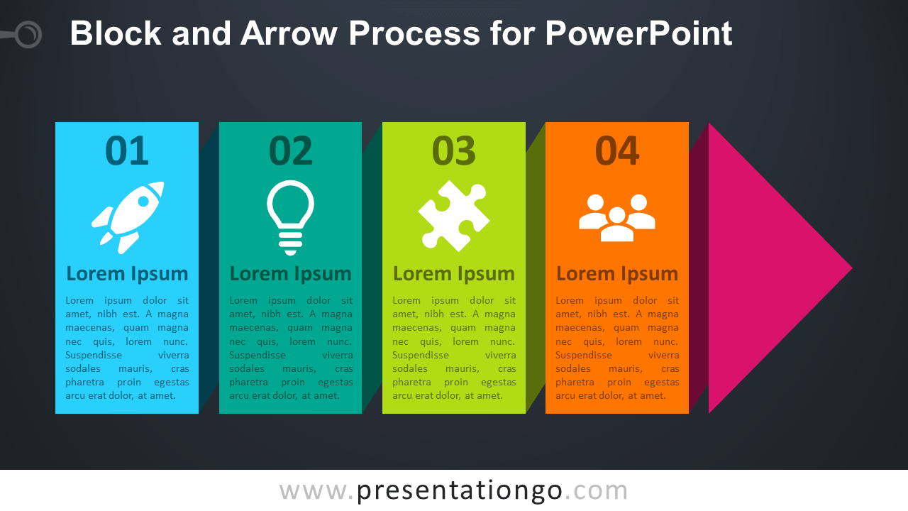 Free Continuous Block Arrow Process for PowerPoint - Dark Background